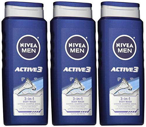 NIVEA MEN Active3 3-in-1 Body Wash Shower Gel, 16.9 oz Bottle