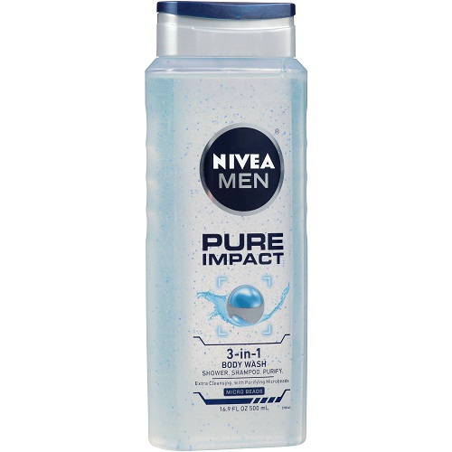 NIVEA MEN Pure Impact 3-in-1 Body Wash for Body, Face & Hair, 16.9 oz