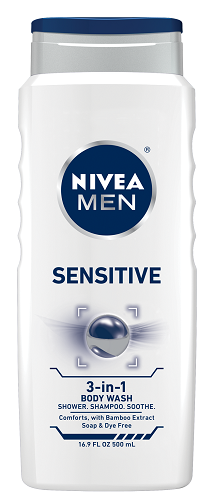 NIVEA MEN Sensitive 3-in-1 Body Wash for Body, Face & Hair, 16.9 oz Bottle