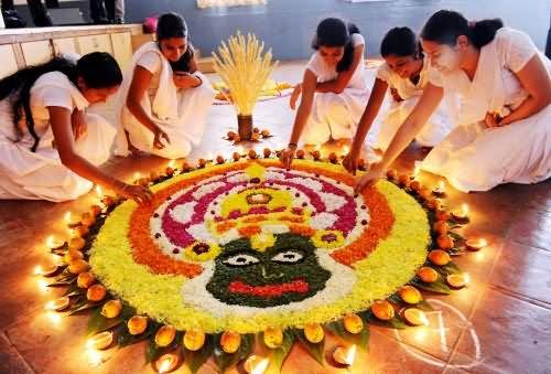 Shining In The Dark Onam Rangoli - Festival Rangoli Designs