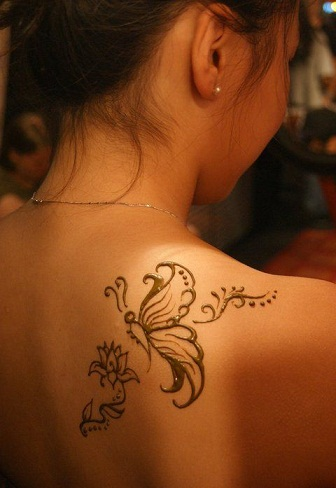 Shoulder Henna Designs-HennaButterfly design