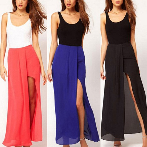 Side Silt Long Skirt