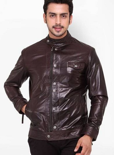 Solid Brown Leather Jacket