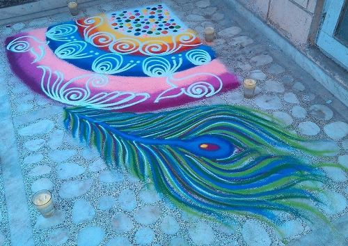 Special Rangoli Designs Peacock Feather Rangoli
