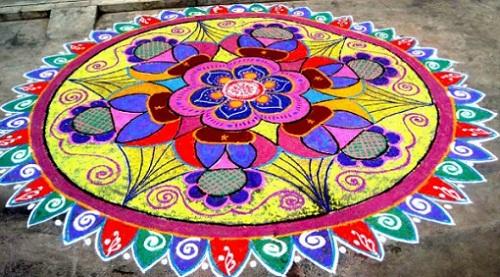 Unique Round Rangoli Design -Festival Rangoli Designs