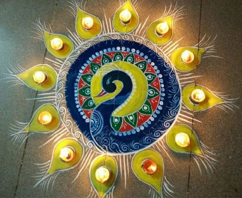 Latest rangoli looks 2014 gallery for Floor rangoli design