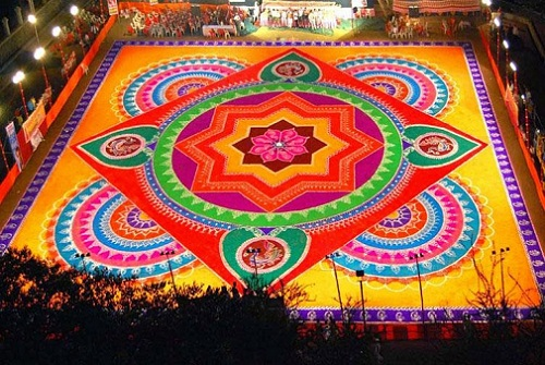Hindu Rangoli Designs - Diya Rangoli Design for Pujas