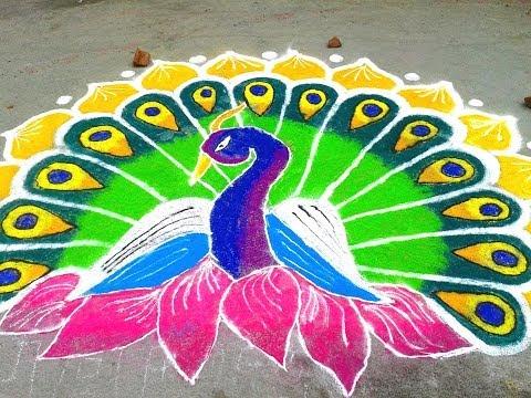 Hindu Rangoli Designs - Peacock Saves The Day
