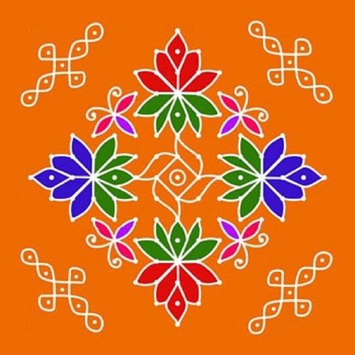 Hindu Rangoli Designs - The Dotted Rangoli Design