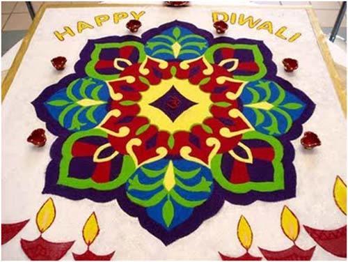 Rangoli with rice for Diwali