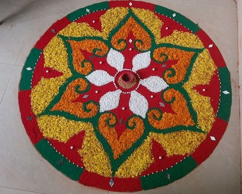 Floral Rangoli with Rice
