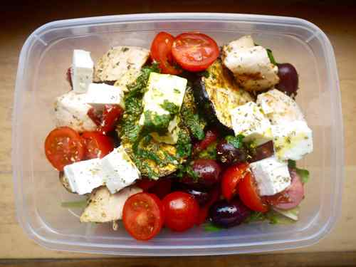 Grilled Chicken Greek Salad with Lemon, Mint, and Turmeric Dressing