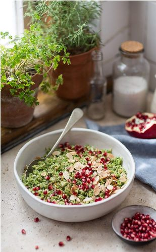 Healthy Recipes For Pregnant Women-Broccoli Pilaf with Pomegranate and Almonds