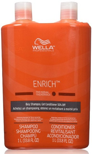 Wella Enrich Shampoo & Conditioner Course Hair Liter Duo 33.8 Oz