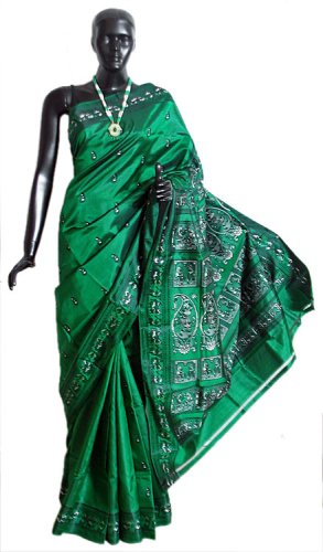 Baluchari Sarees-Baluchari Silk Saree (Green) 9