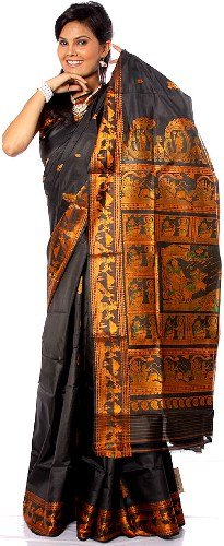 Baluchari Sarees-Black Baluchari Saree 15