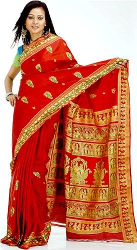 Baluchari Sarees-Blood Red Baluchari Saree 12