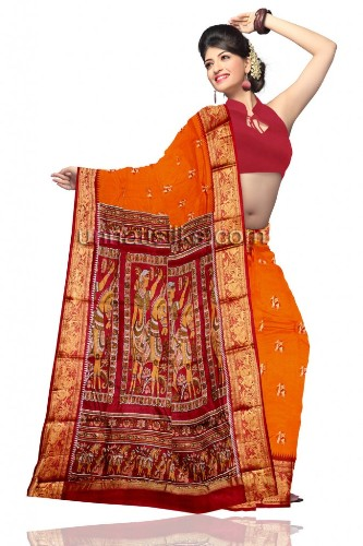 Baluchari Sarees-Orange Baluchari Silk Saree 13