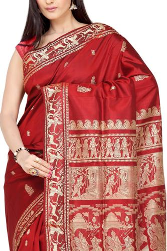 Baluchari Sarees-Red Baluchari Saree 11