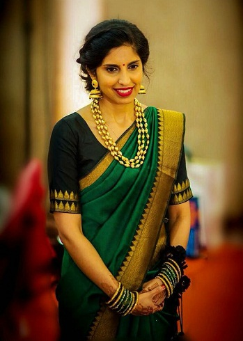 Best Designer Blouse For Green Silk Sarees