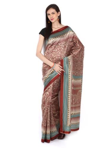 Bhagalpuri Sarees-Beige Bhagalpuri Saree with Printed Design 5