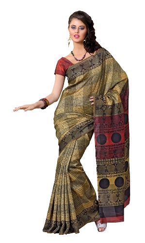Bhagalpuri Sarees-Beige Bhagalpuri Saree with Traditional Art 9