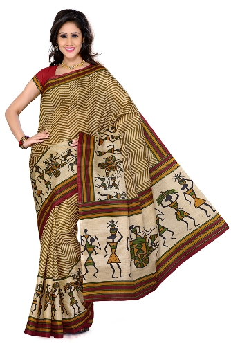 Bhagalpuri Sarees-Bhagalpuri Silk Saree with Artistic Designs 8