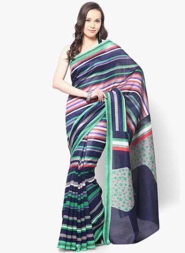 Bhagalpuri Sarees-Blue Printed Bhagalpuri Silk Saree 14