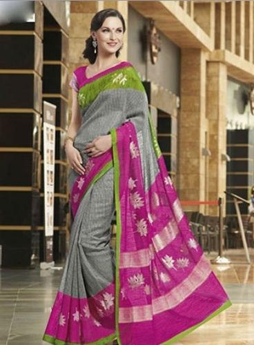 Bhagalpuri Sarees-Pink and Gray Bhagalpuri Silk Saree 10