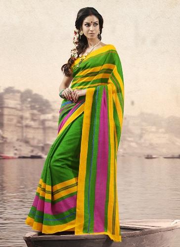 Bhagalpuri Sarees-Yellow Bhagalpuri Silk Saree 6