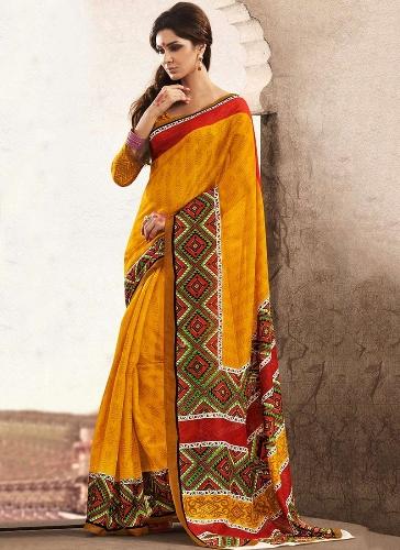 Bhagalpuri Sarees-Yellow Goddess Bhagalpuri Saree 7