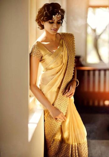 Biscuit Golden Color Saree 7