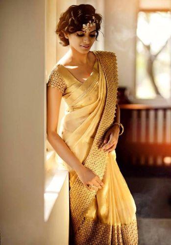 Biscuit Golden Color Saree 7