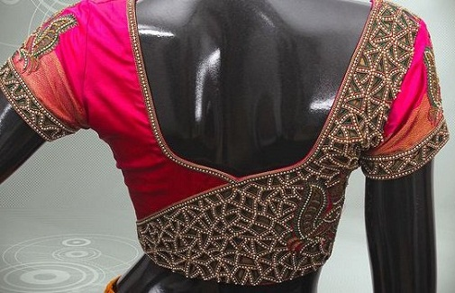 738f7641a822ce 9 Amazing Blouse Back Neck Designs With Stone Work