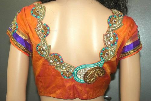 Blouse back neck designs for pattu sarees3