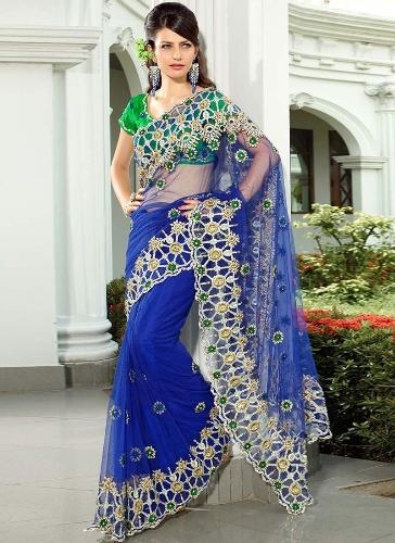 Blue Sarees-Blue Net Designer Saree 4