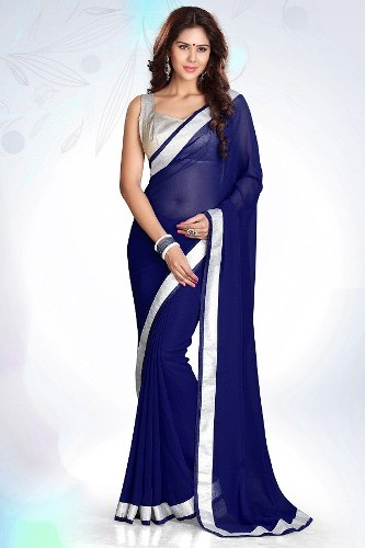 Blue Sarees-Dark Blue Designer Model 9