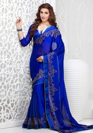 Blue Sarees-Deep Blue Saree For women 6
