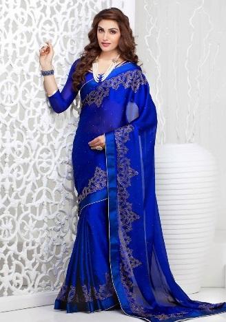 Blue Sarees-Deep Blue Saree For women 6