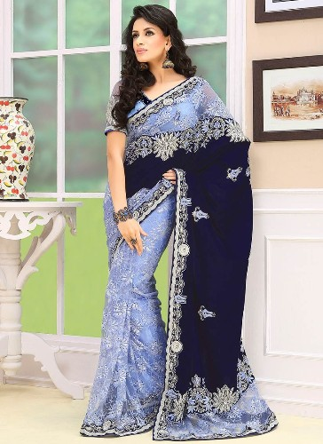 Blue Sarees-Half Velvet and Half Light Blue Saree 5