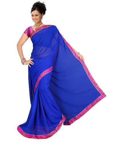 Blue Sarees-Royal Blue Chiffon Saree 11