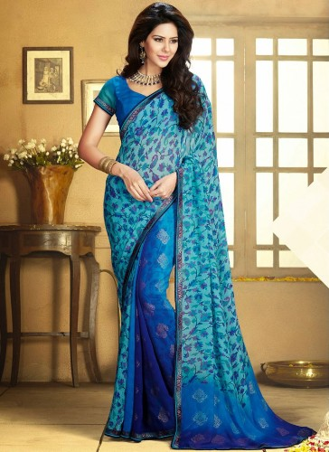 Blue Sarees-The Lace Border work Blue Saree 13