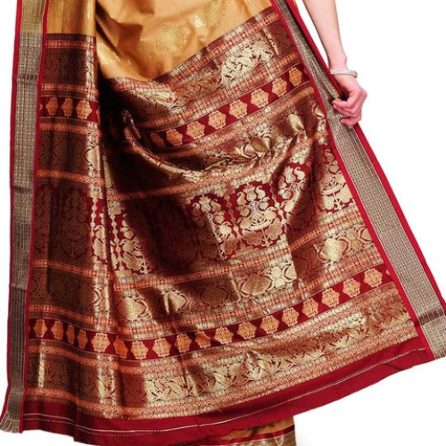 Bomkai Sarees-Bomkai Red and Golden Sraee 1