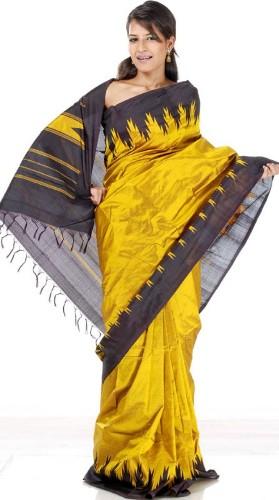 Bomkai Sarees-Golden Mustard Color Bomkai Sarees 4