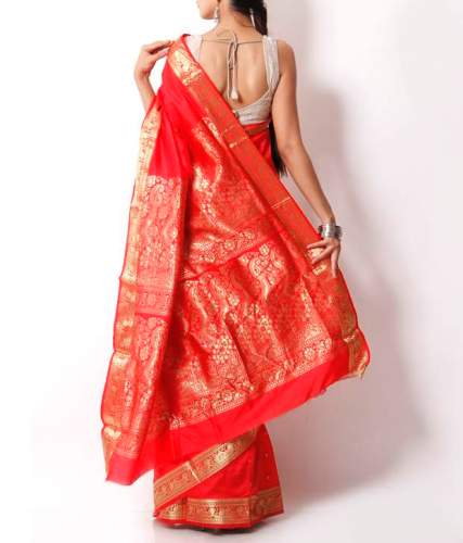 Bomkai Sarees-Red Indian Art Bomkai Saree 6