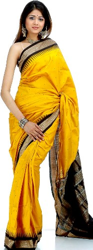 Bomkai Sarees-Yellow Bomkai Silk Saree 3