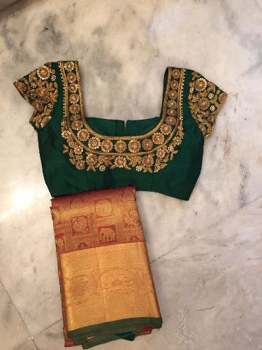 Bridal Blouse Designs-Green Embroidery Blouse 4