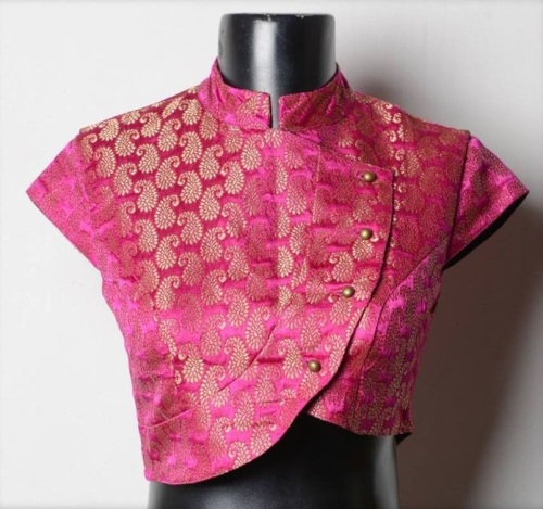 Bridal Blouse Designs-Pink Jacket Style Blouse 7