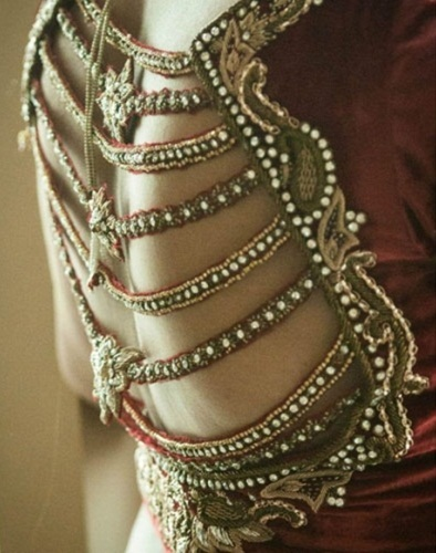 Bridal Blouse Designs-Zardosi Stringed Blouse 14