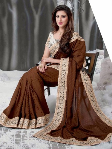 Brown Saree with Golden Lace 6